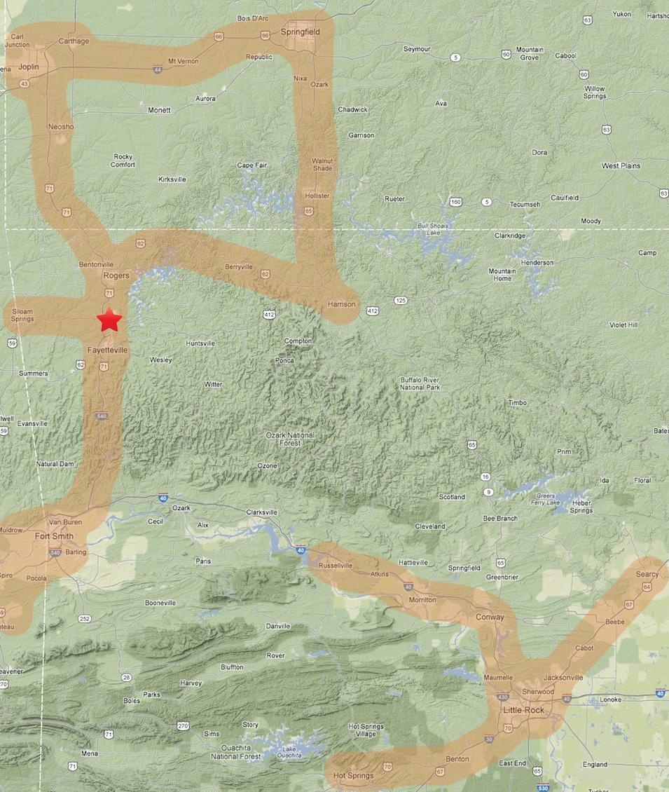 Kimball & Thompson Distribution Map
